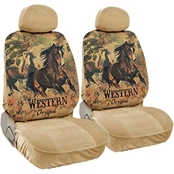 CarsCover Print Design Brown Horse Original Western Script with Flowers on Background Wild West Car Truck SUV Universal-fit Low Back Seat Covers Driver & Passenger Set