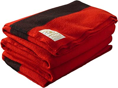 Woolrich 108 by 100-Inch Hudson Bay 8 Point Blanket, Scarlet with Black Stripes