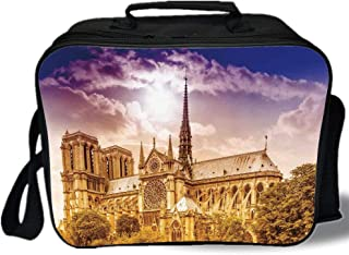 Paris Decor 3D Print Insulated Lunch Bag,Notre Dame Cathedral Paris Parisian Gothic Trees Forest Sunshines Cloudy Sky,for Work/School/Picnic,