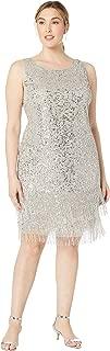Women's Plus Size Sleeveless Fringe Beaded Cocktail Dress
