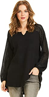 SONJA BETRO Women's Thermal Knit Long Sleeve Shirts Casual Loose Tunic Tops