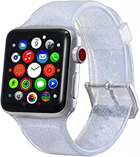 Compatible with Apple Watch Band 38mm 40mm, Libra Gemini Glitter Bling Silicone Replacement Band Compatible with Apple Watch Series5/4/3/2/1