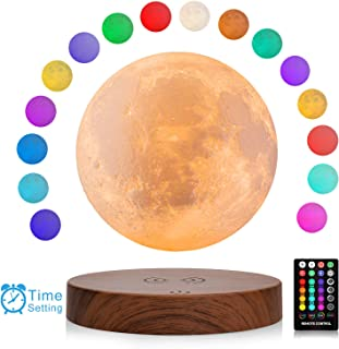 LOGROTATE Magnetic Levitating Moon Lamp, 3D Printing Moon Light with Remote Control & Wooden Base, 6 in Night Light for Ho...