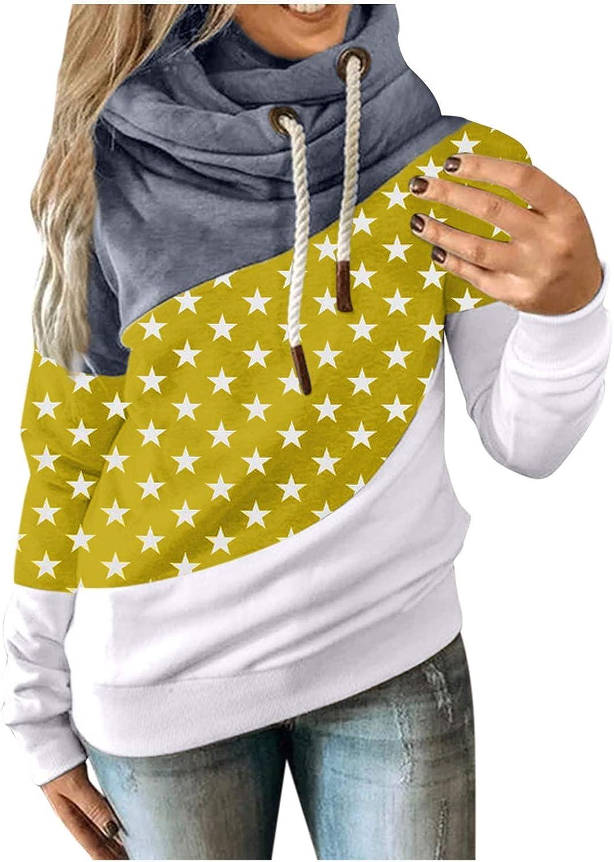 AODONG Hoodies for Women,Long Sleeve Hooded Sweatshirt Color Block Hoodie Cowl Neck Stitching Blouse Pullover Sweatshirts