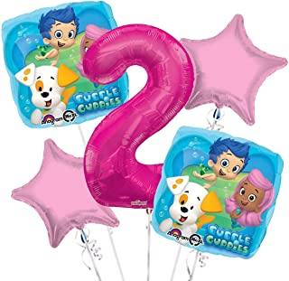 Bubble Guppies Balloon Bouquet 2nd Birthday 5 pcs - Party Supplies