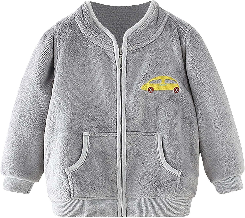 Kids Dealing full price reduction Award Fleece Jacket with Pockets Full Car Long Flannel Zip Sleeve