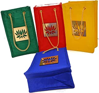 Desi Favors Set of 4 Sturdy Raw Silk with Lotus Gift Favor Bags for Weddings Housewarming Puja Return Gifts (Red, Blue, Green and Yellow) Decorated with Lotus