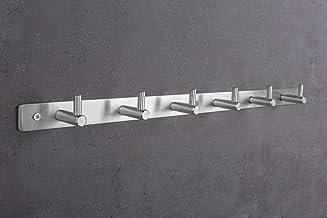GedoTec® Wandkapstok, hakenrek, roestvrij staal, model MOON   kledinghaak-strip met 3 haken   wandhaken zichtbaar geschroe...