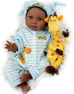 Milidool Black Reborn Baby Doll 22 Inch Lifelike African American Newborn Boy Dolls with Giraffe Gift Set