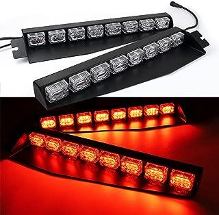 48LED 48W LED Lightbar Visor Light Windshield Emergency Hazard Warning Strobe Beacon Split Mount Deck Dash Lamp (Red)