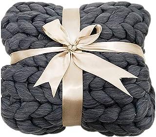 LICHUXIN Couverture géante tricotée à la main en laine épaisse pour canapé Couverture d'hiver tissée à la main Décoration ...