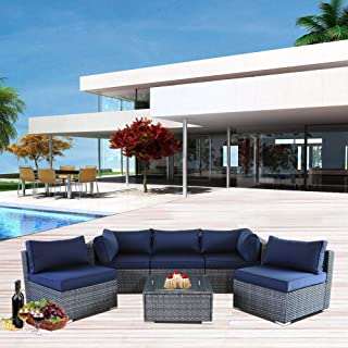 JETIME Outdoor Rattan Furniture 6pcs Patio Grey Conversation Set Garden Sofa Set Sectional Couch with Navy Cushion