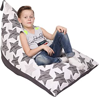 Stuffed Animal Storage Bean Bag - Cover Only - Large Beanbag Triangle Chair for Kids - 180+ Plush Toys Holder Organizer for Girls and Boys - 100% Cotton Canvas - Grey Stars