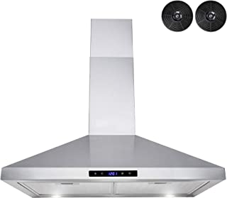 """AKDY Wall Mount Range Hood –30"""" Stainless-Steel Hood Fan for Kitchen – 3-Speed Professional Quiet Motor – Premium Touch Control Panel – Modern Design – Carbon Filters & LED Lamp"""