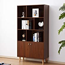 soges Premuim Modern Display Storage Cabinet 67.4 inches High Free Standing Wood Bookshelf Home Office Cabinet, Walnut HHGZ006-WN