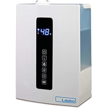 Lasko LA10008 UH300 Warm and Cool Humidistat and Timer, Quiet and Soothing Ultrasonic Dual Mist Humidifiers for Baby Nursery, Bedroom, Kids, Large Room and Home, 4.9L Tank, No Filter, White