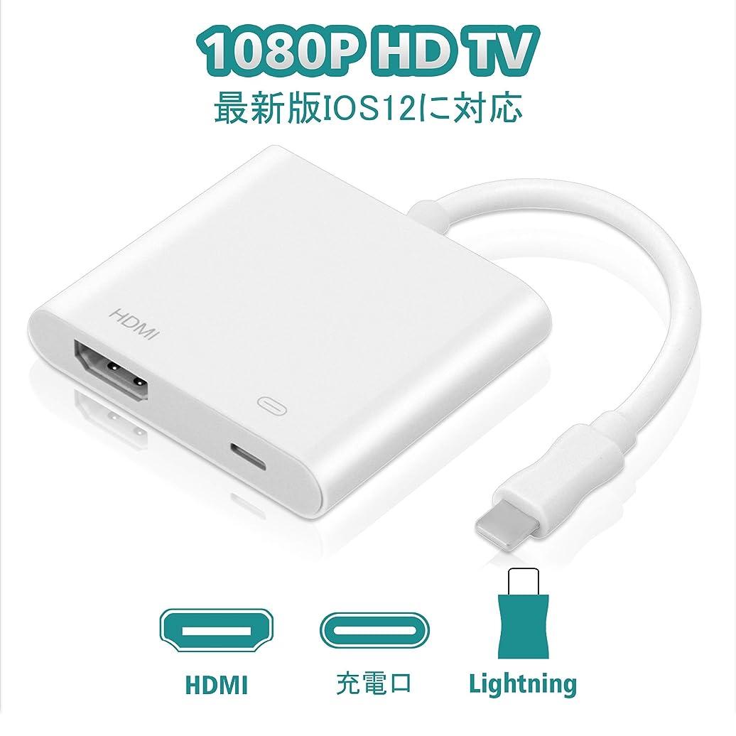 後退する致命的こっそりHaphome Lightning HDMI 交換 ケーブル HD高画質 1080P高解像度 ライトニングケーブル大画面 音声同期出力 iPhone/iPad/iPodをテレビに出力 (ホワイト) (白)