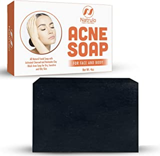 Natrulo Acne Bar Soap with Activated Charcoal & Bentonite Clay - Black Acne Soap for Dry, Sensitive & Oily Skin - All Natural Facial Soap for Pimples & Scars -  Homeopathic Acne Treatment Made in USA