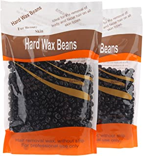 Bonjanvye Hard Wax Kit Hair Removal Wax Kit Hard Wax Beans Kit Prime 300g Black