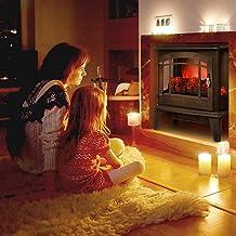 Estufa de chimenea eléctrica, calentador de estufa de chimenea de 1400W con botón de interruptor de calefacción basculante / una perilla de control de temperatura para uso en la oficina en el hogar