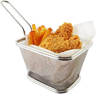 Stainless Steel Mini Square Fry Basket French Fries Holder, Fried Food Table Serving (Larger 5inch)