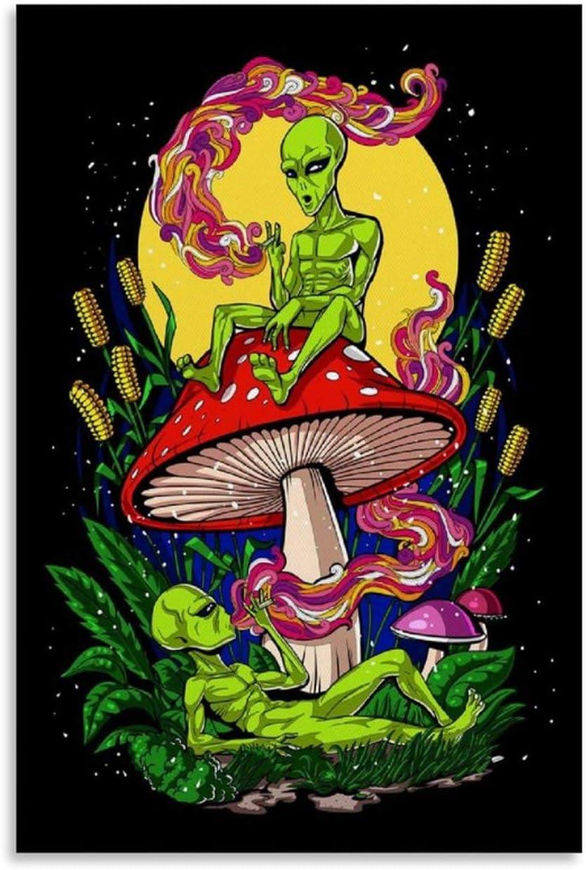 p/óster de 20 x 30 cm sobre lienzo ASDFWQW P/óster de Aliens Magic Mushroom Weed impresi/ón art/ística moderna para habitaci/ón familiar 1624