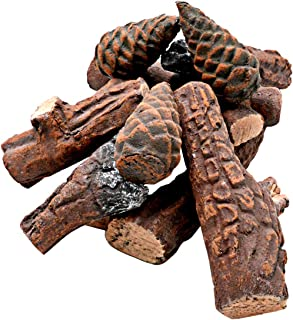 Skyflame 10 Small Piece Set of Ceramic Wood Logs & Accessories for All Types of Indoor Gas Inserts | Ventless & Vented | P...