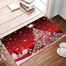 FAMILYDECOR Welcome Doormat Red Shining Christmas Tree Entrance Floor Door Mat Rug for Indoor/Front Door/Bathroom Shower/Kitchen, Non-Slip Absorbent Door Mats Washable Shoe Scraper 20