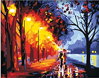 Frameless DIY Paint By Numbers Kits For Adult Kids Romantic Lovers Street On Canvas Painting By Number For Home Wall Decor,16x20