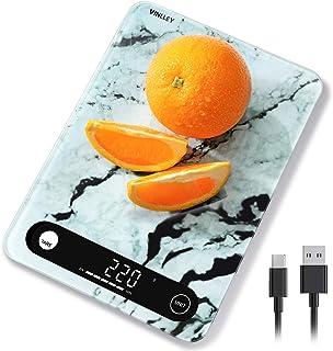 vinlley Balance de Cuisine numérique, 22Ib Balance de Cuisine en Verre trempé avec Balance Alimentaire Rechargeable pour l...