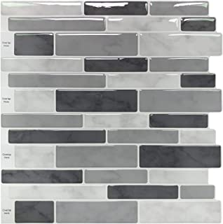 Peel & Stick Backsplash Tile for Kitchen, Gray Decorative Tile (10 Sheets)