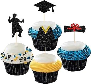 Dill-Dall Black Glitter Graduation Cupcake Toppers - Bachelor Uniform, Graduation Cap, Certificate Cupcake Toppers, Gradua...