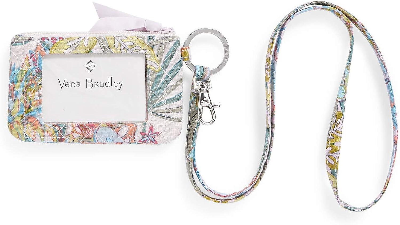 Vera Bradley New Max 88% OFF York Mall Women's Cotton Zip Combo Id Case and Lanyard