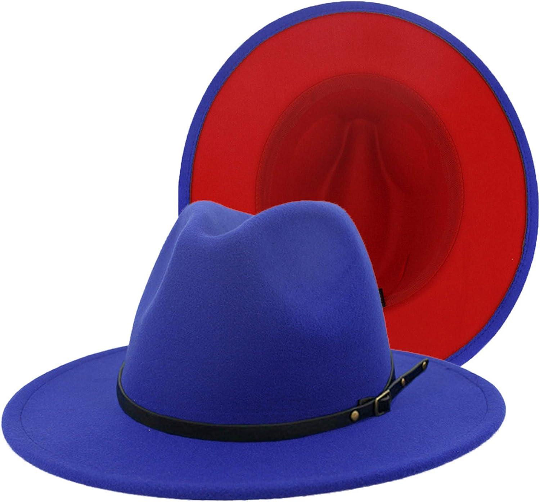XINBONG Mens & Womens Black and Red Wide Brim Fedora Hat Two Tone Felt Panama Hat