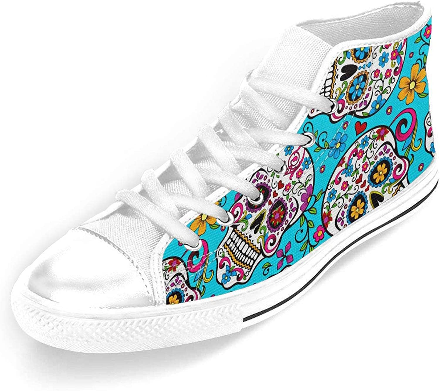 colors Day of The Dead Skull Womens and Mens High Top Classic Canvas shoes Rubber Sole Lace-Up Trainer shoes