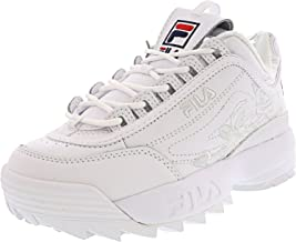 Fila Women's Disruptor Ii Embroidery White Navy Red Ankle-High Walking Shoe - 5M