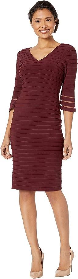Pintucked Matte Jersey Sheath Dress