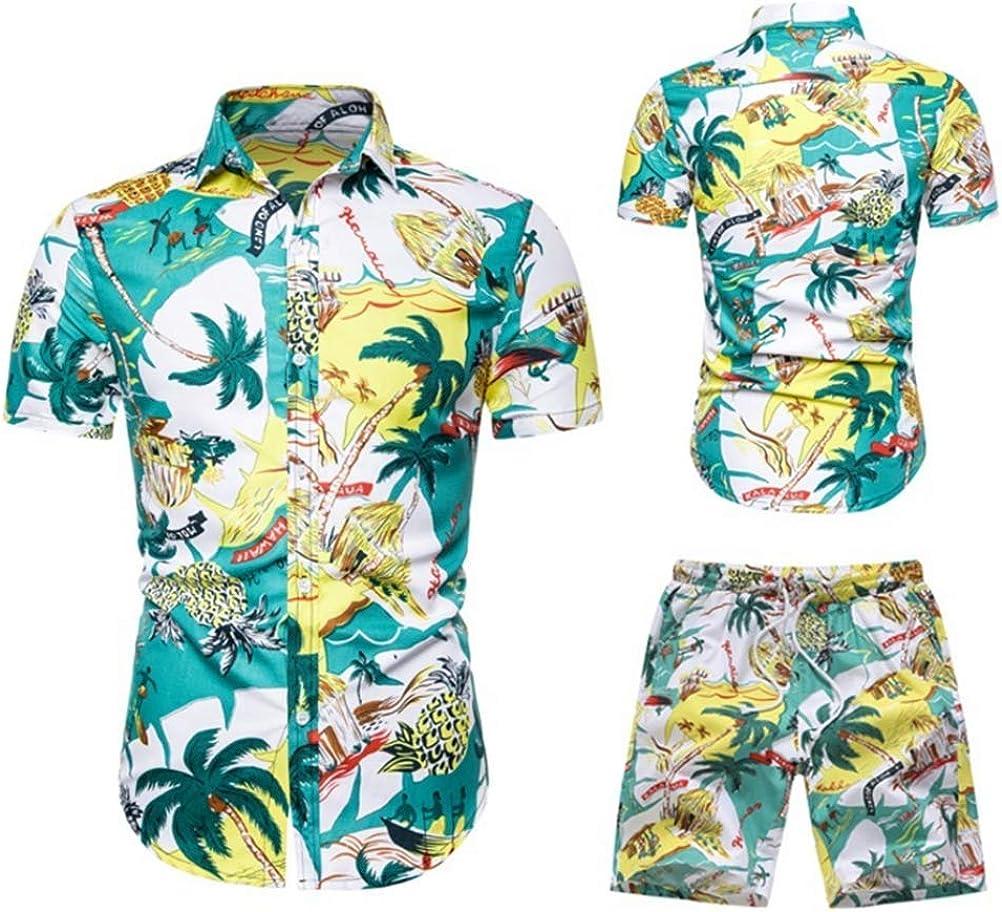 Large Size Men's Shirt Suit Casual Fashion Hawaiian Beach Print Short-Sleeved Shirt Shorts