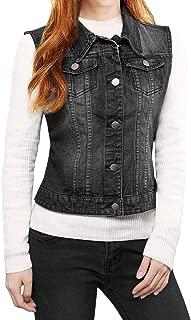 Women's Buttoned Washed Denim Vest Jacket w Chest Flap Pockets
