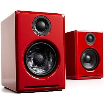 Audioengine A2 Plus 60W Powered Desktop Speakers, Built in 16Bit DAC and Analog Amplifier (Red)