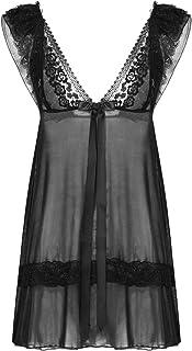 CHICTRY Men's Sissy Lingerie Lace Frilly Crossdressing Dress Girly Skirted Pajamas Nightwear