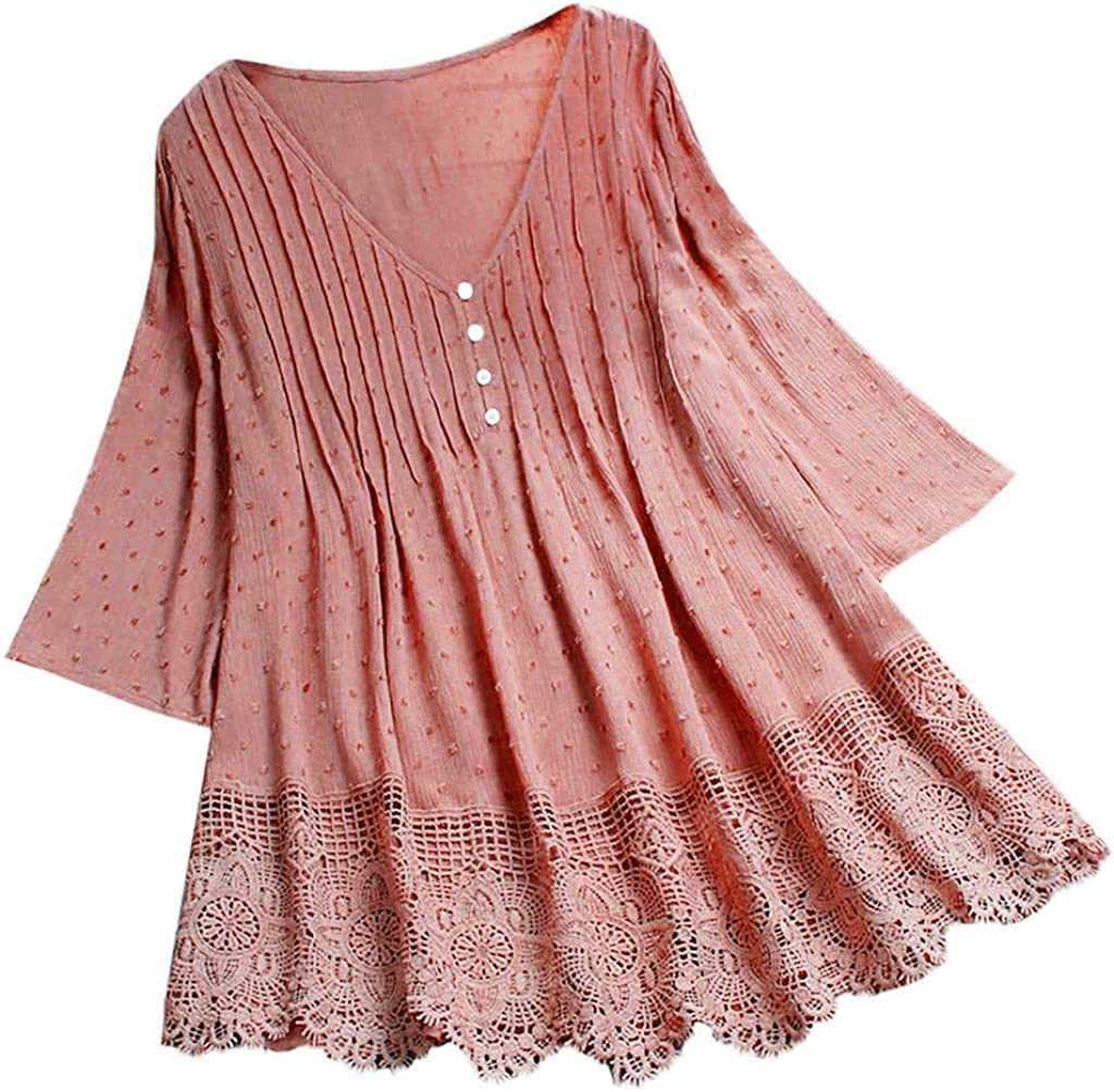 Overseas parallel import regular item Long Tops for Women to Wear with Leggings Cotton Lace Pat Neck Year-end gift V