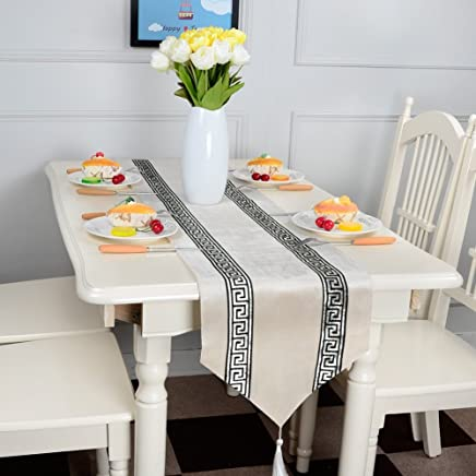"""Top Finel Table Runners Classic Geometric Stripes - Cotton Canvas Fabric Table Top Decoration Home Decor for Outdoor Wedding Party(13"""" W x 71"""" L, 33*180 cm, Cream)"""