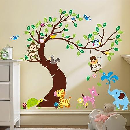 Swing Monkey Owl Tree Nursery Wall Sticker Removable Art Decal Kid Boy Girl Room