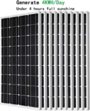 ECO-WORTHY 1KW Solar Panel - 10pcs 100 Watts 12 Volts Monocrystalline Solar PV Solar Panels