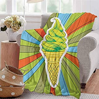 Luoiaax Art Children's Blanket Hand Drawn Ice Cream on Cone with Colorful Rays Coming Out from The Middle Lightweight Soft Warm and Comfortable W91 x L60 Inch Lime Green Multicolor