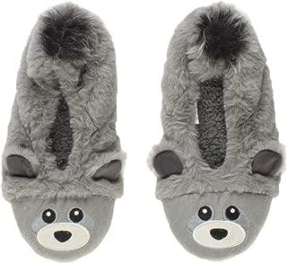 Ajvani Women's Elastic Fleece Lined Fur Bear Raccoon Face Grip Slippers Socks Size