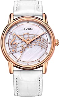 BUREI Unisex Thin Minimalist Wrist Watches with Analog Dial Calendar Mineral Crystal Leather & Mesh Band