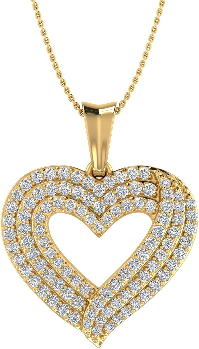 1 Omaha Mall 2 Carat 14K Yellow Gold Ranking TOP1 Include Diamond Pendant Heart Women's