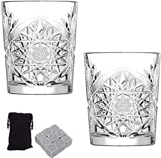 Libbey Hobstar Double Old Fashioned Glasses w/Soapstone Whiskey Cubes Bundle, 12 oz Vintage Cut Glass Whisky Tumblers, 2 Glasses w/nine Whiskey Soapstone Cubes